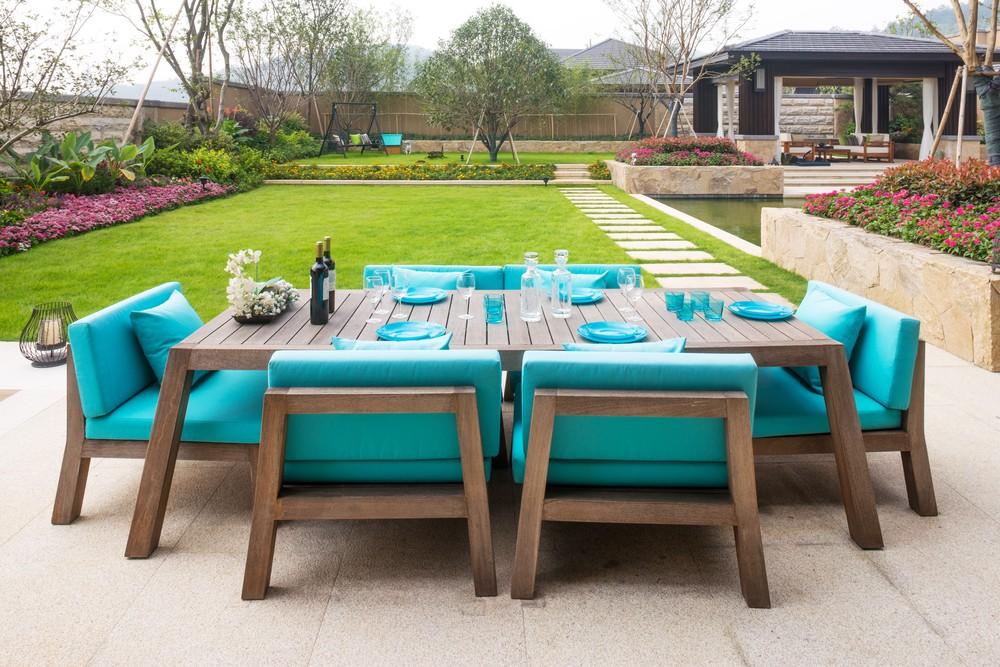 Záhradný nábytok na terasu - tyrkysovy