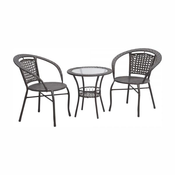 Kvalitné záhradné sedenie  | Materiál: umelý ratan/oceľ/tvrdené sklo