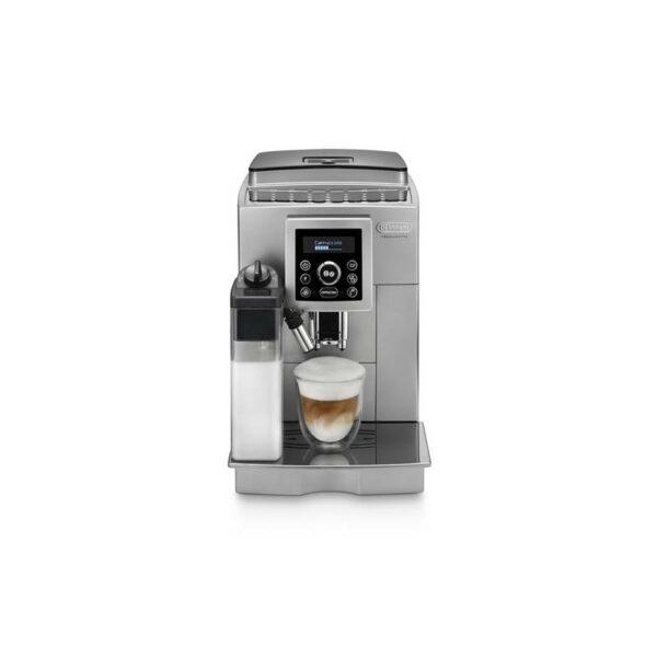 """Značkový kávovar DeLonghi    ESPRESSO KÁVOVAR.  dvojriadkový displej.  Patentovaný systém """" Cappuccino jedným stlačením """" s najlepšími výsledkami pri príprave mliečnej peny : pripravte si perfektné cappuccino jednoducho stlačením jedného tlačidla.  Automatické"""