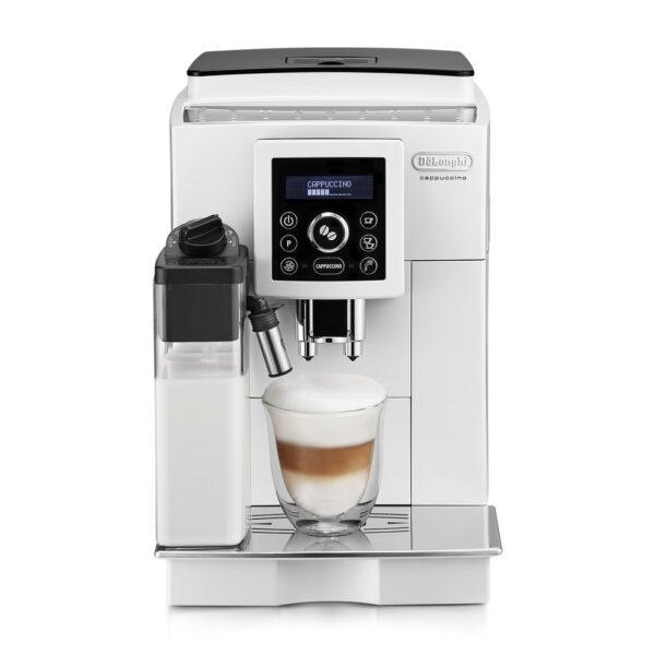 """Značkový kávovar DeLonghi    AUTOMATICKÝ KÁVOVAR .  VLASTNOSTI: .  Automatický prístroj s funkciou """"Cappuccino jedným stlačením"""" .  Automatické čistenie integrované v gombíku pre reguláciu peny .  Individuálne nastaviteľná káva (malá"""