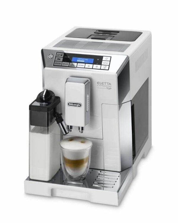 Značkový kávovar DeLonghi  | AUTOMATICKÝ KÁVOVAR .  Štýlové plnoautomatické espresso De'Longhi ECAM 45.760.W Eletta Cappuccino Top je vybavené množstvom praktických funkcií. Sjeho pomocou si pripravíte dokonalé Cappucino shustou
