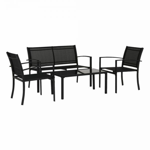 Kvalitné záhradné sedenie  | Materiál stôl: kov/tvrdené sklo