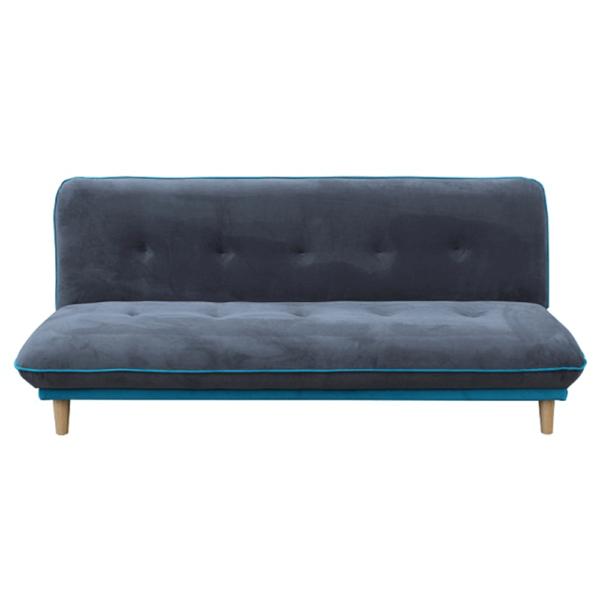 Kvalitné a moderné pohovky  | Rozkladacia pohovka ELMO s látkovým poťahom v sivej a modrej farbe a drevenými nožičkami prírodnej farby.