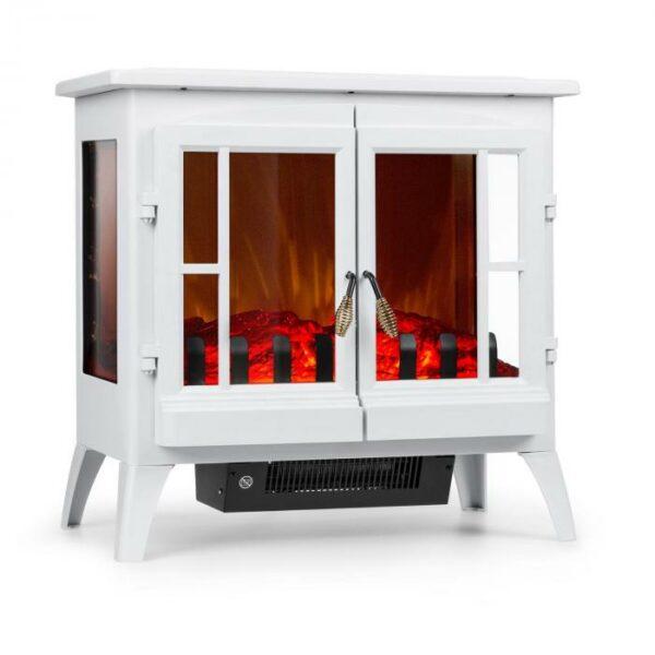 ktorá ohrieva miestnosti do 30 m² s výkonom 1000 alebo 2000 W. Ovládanie elektrického kozubu prebieha priamo na zariadení: prepínače sú diskrétne ukryté za dvierkami kozubu. Teplotu a intenzitu efektu plameňa je možné jednoducho ovládať prostredníctvom otočného regulátora. Jedinečný dizajn krbu s bielou oceľovou konštrukciou vytvorí všade romantickú atmosféru. Vďaka veľkým okienkám získate perfektný pohľad na zdanlivo realistické drevené polienka z troch strán. Tento panoramatický pohľad PanoramaView okamžite vytvára dojem praskajúceho ohňa bez skutočného ohňa alebo sadzí a očarí naozaj každého. Elektrický kozub Innsbruck od spoločnosti Klarstein: dôraz na romantiku! Upozornenie: Tento výrobok je určený len do dobre izolovaných miestností a na príležitostné použitie.