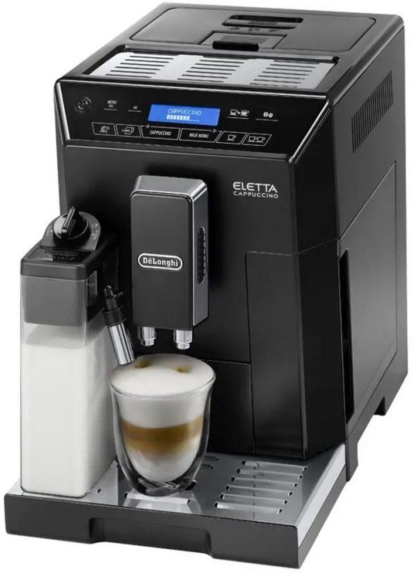 Značkový kávovar DeLonghi    AUTOMATICKÝ KÁVOVAR .  Luxusní plnoautom. kávovar Eletta Plus v čierny s nerezovýmy doplnkamy
