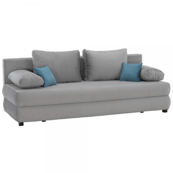 Kvalitné a moderné pohovky    Rozkladacia pohovka CLIV s úložným priestorom vo farebnom prevedení sivá látka Aria 15/ tyrkysová.